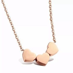 Rose Gold Heart Necklace 3 Hearts